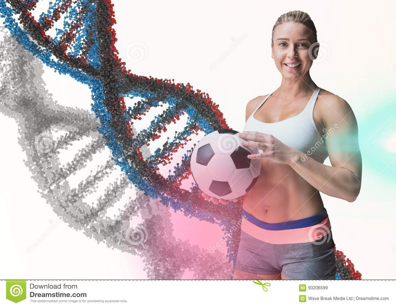 Woman with soccer ball with blue, grey and red dna chain in a white background and some flares