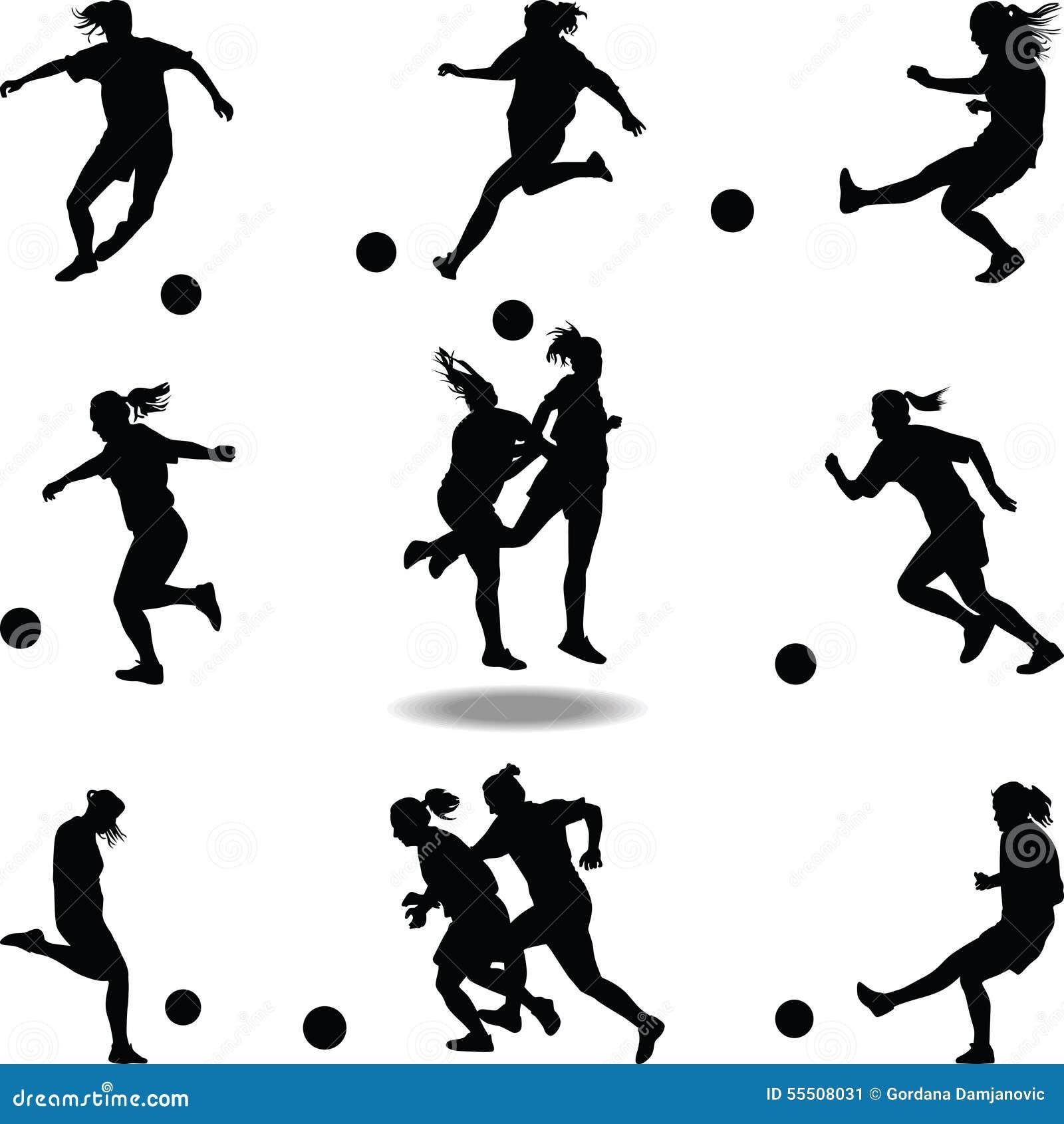 Girl soccer silhouette