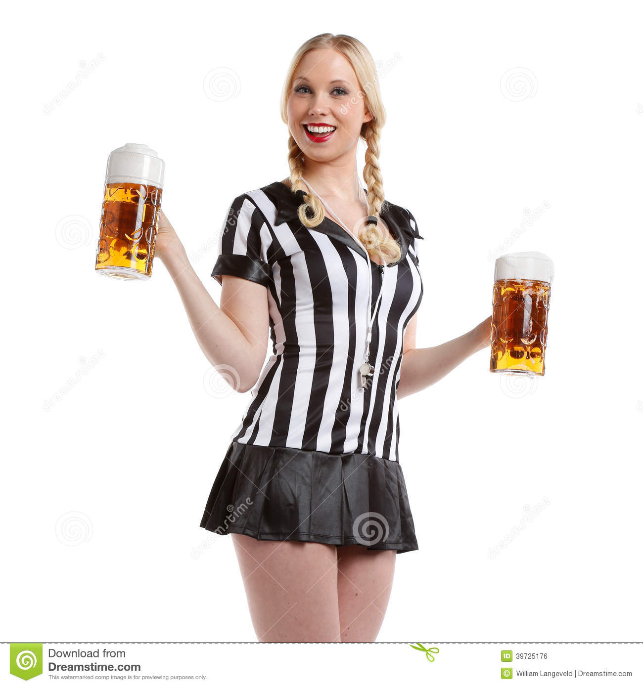 happy and sexy beautiful woman in soccer referee clothes with a big