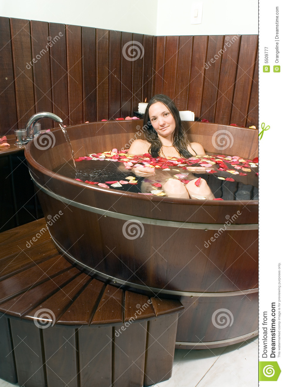 Woman At A Spa Soaking In A Large Wooden Bathtub Stock Image - Image ...
