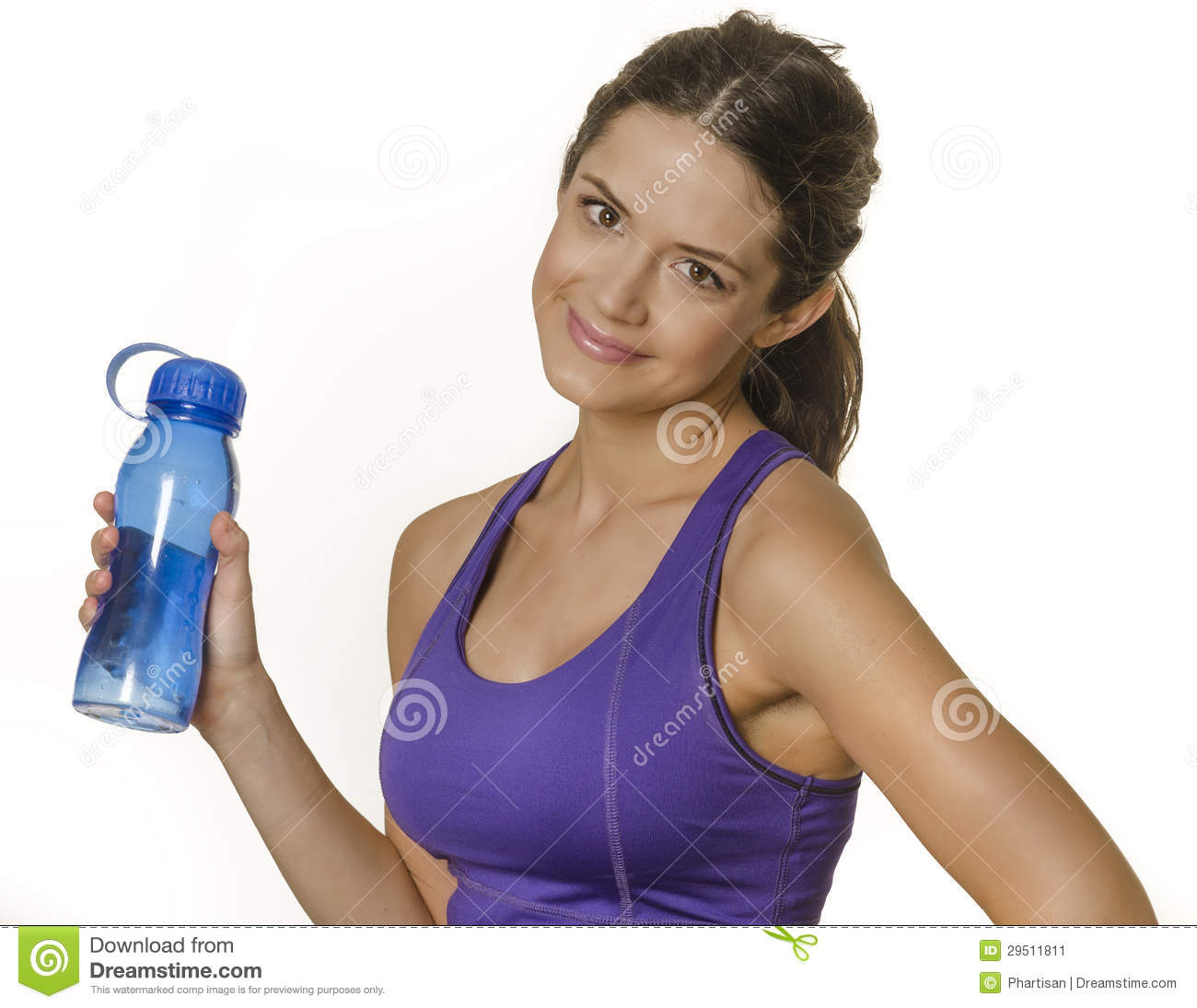 Woman In Sport Clothing Holding Water Bottle Stock Image ...