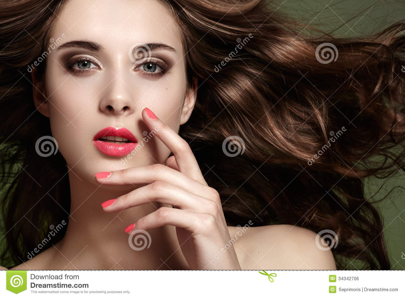 Woman with spring makeup, clean face, long hair