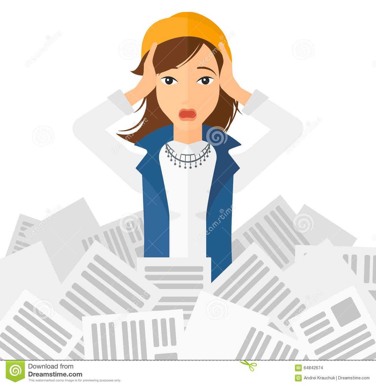 Woman in stack of newspapers