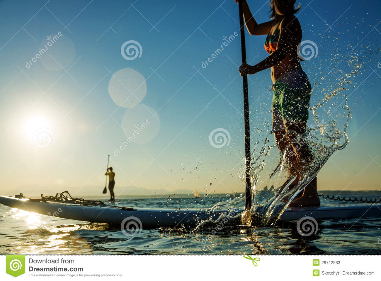 Woman On Stand Up Paddle Board Stock Photos Image 26712883