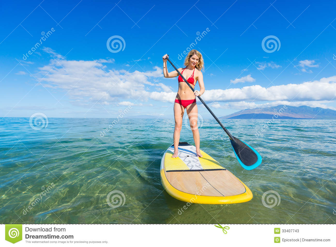 young attractive woman on stand up paddle board stock photo 80512230. Black Bedroom Furniture Sets. Home Design Ideas