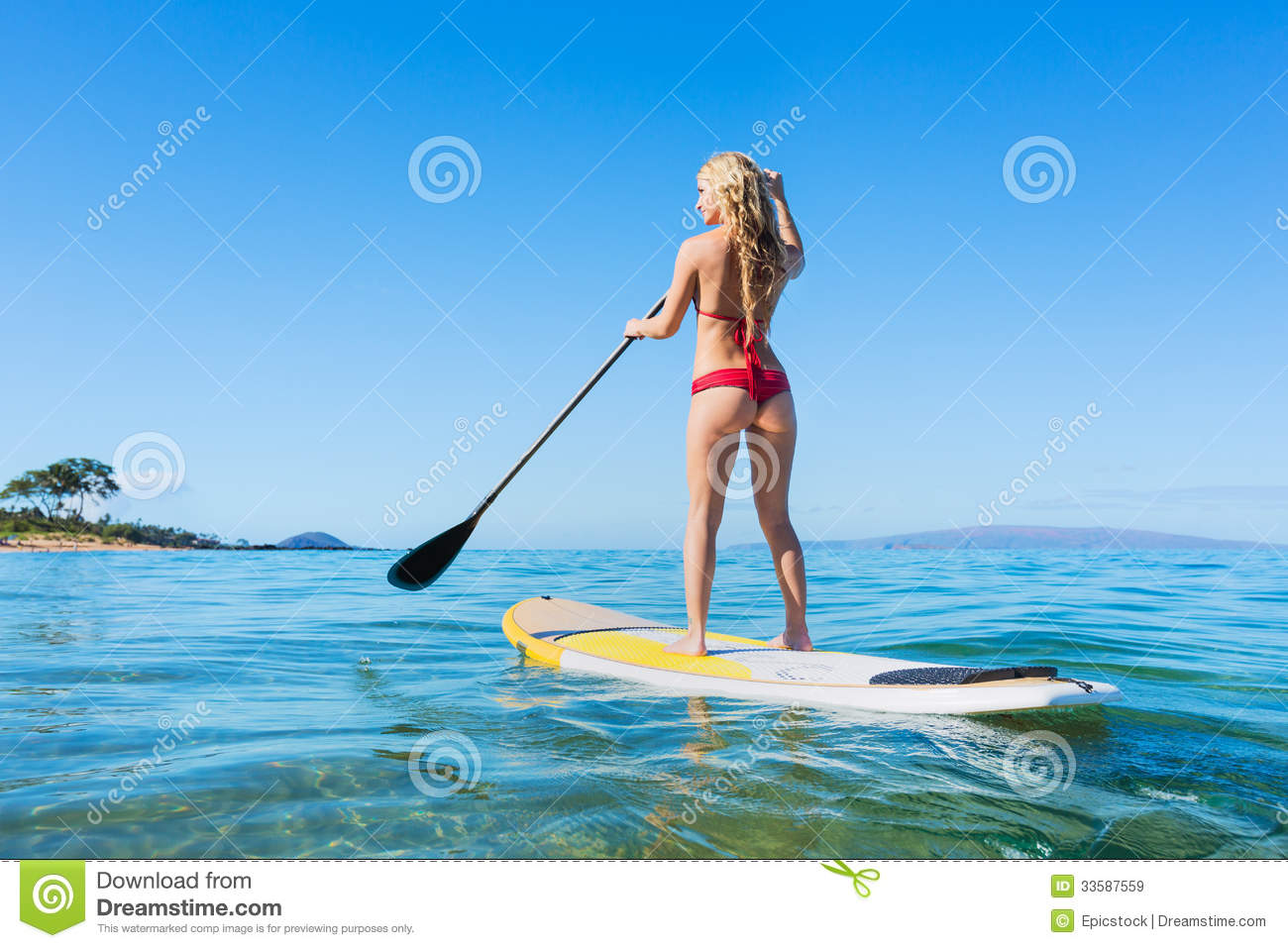 7731fde3ba6 Woman On Stand Up Paddle Board Stock Image - Image of surfboard ...