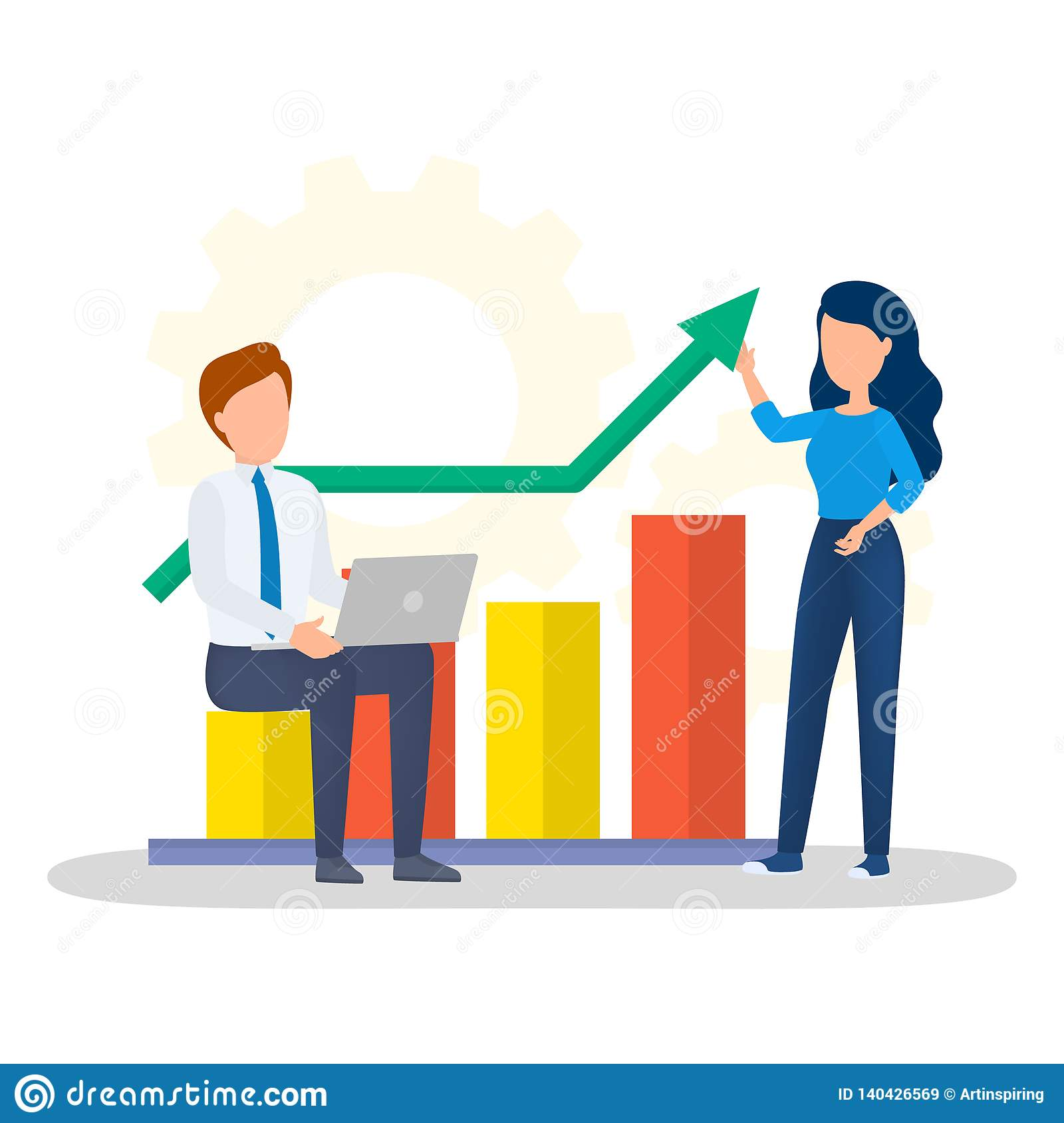 Woman Standing At Graph And Make Presentation Stock Vector
