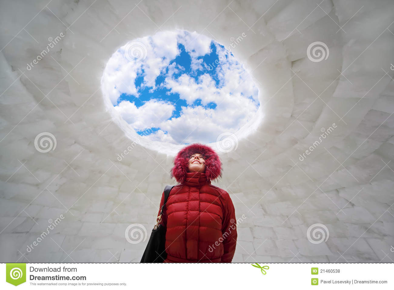 Woman standing inside igloo at winter royalty free stock for Interieur igloo