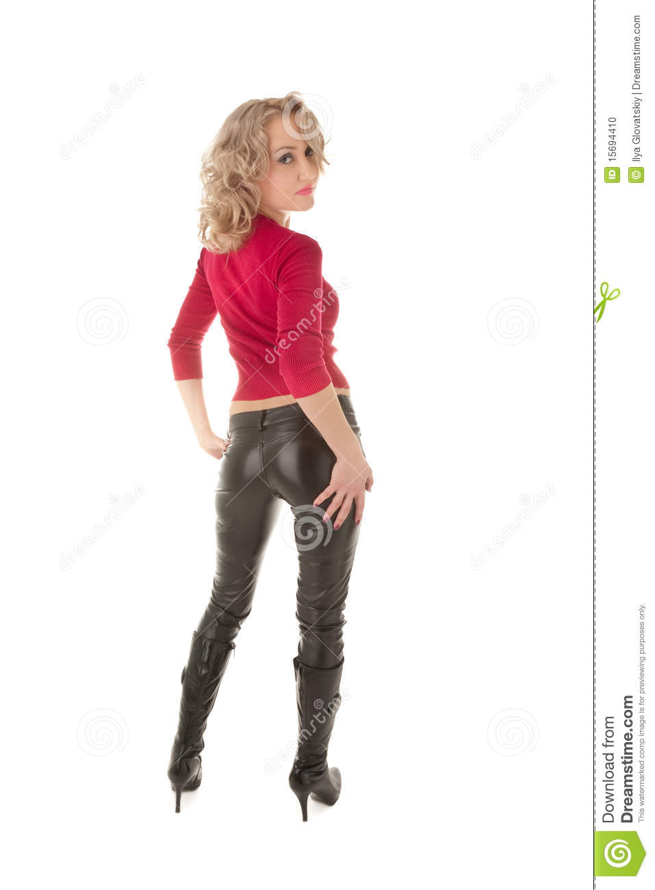 Woman Standing And Looking Back Stock Photo - Image: 15694410