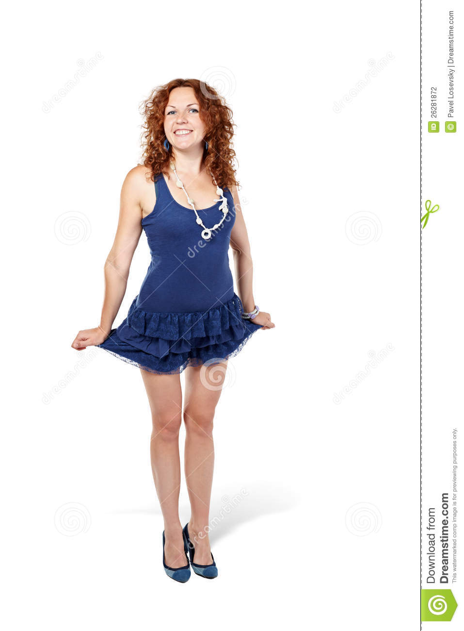 Woman Stands, Holding Skirt On Sides Stock Photography - Image ...