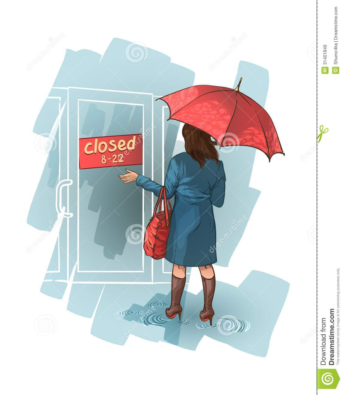 woman stands near a closed shop royalty free stock images School Clip Art Dog Clip Art