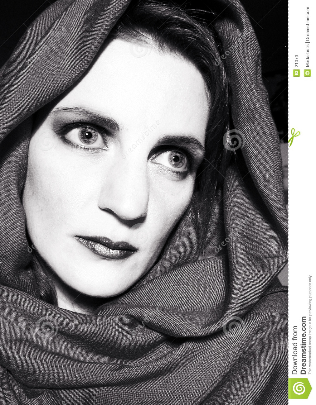 Woman Staring Wearing Scarf