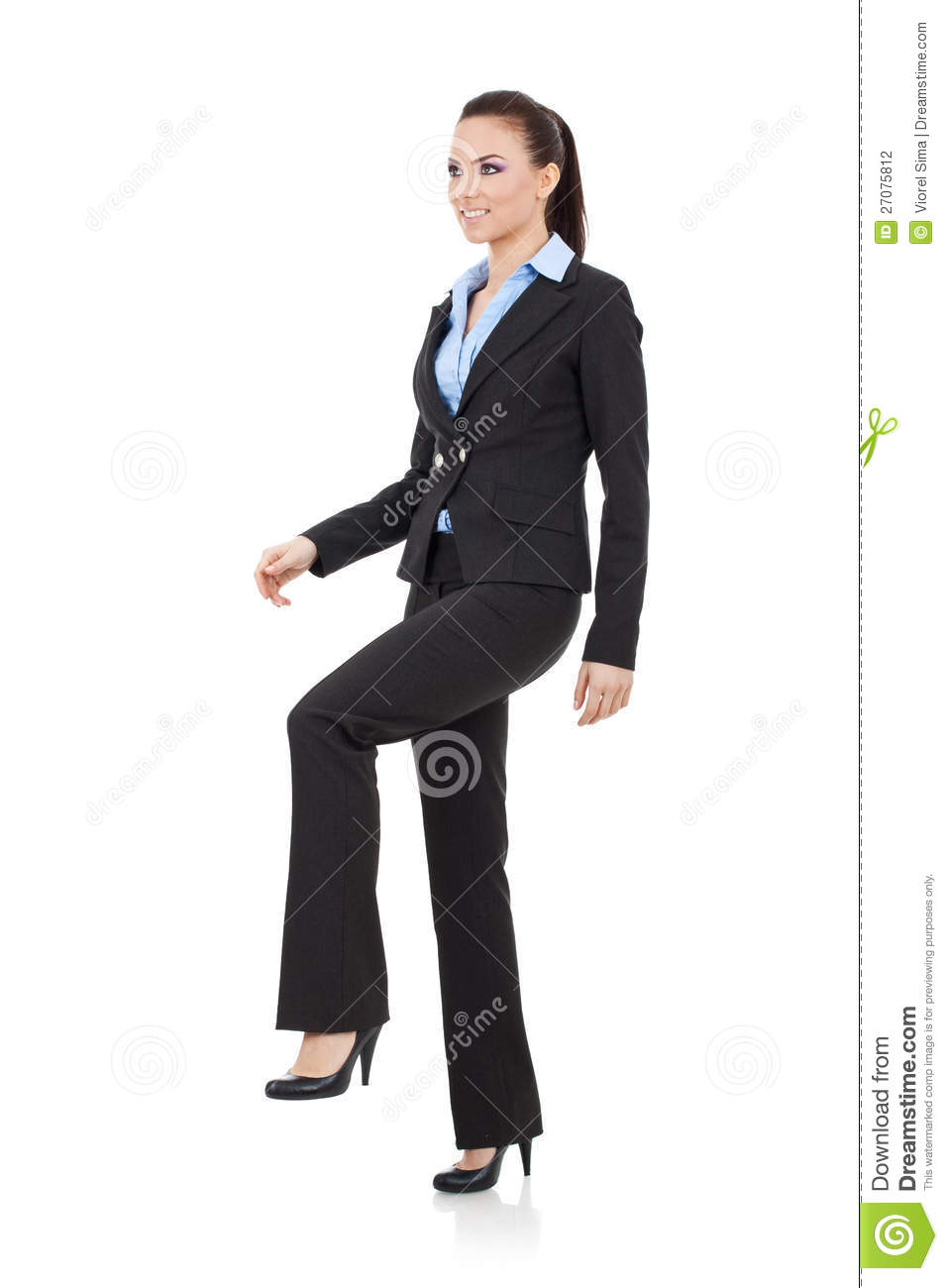 Woman Stepping On Imaginary Step Stock Photo - Image of ...