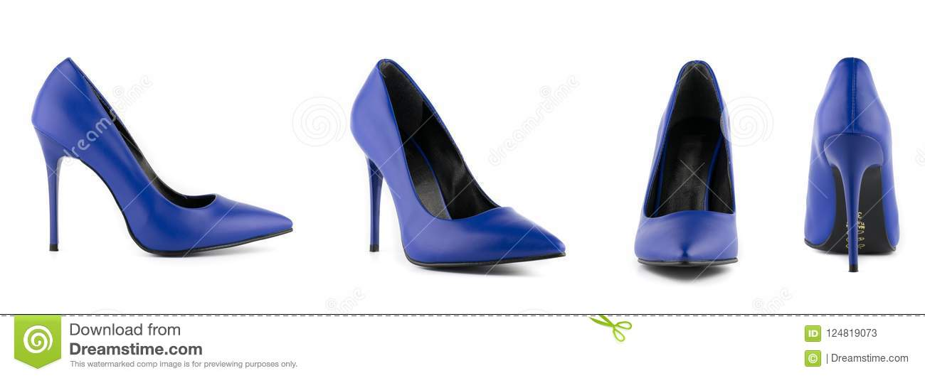 6dfdd95ef36 Woman Stiletto High Heel Shoes Isolated Blue Stock Image - Image of ...