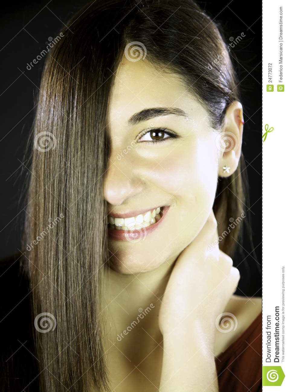 Woman With Straight Hair In Front Of Her Face Stock Photo Image Of