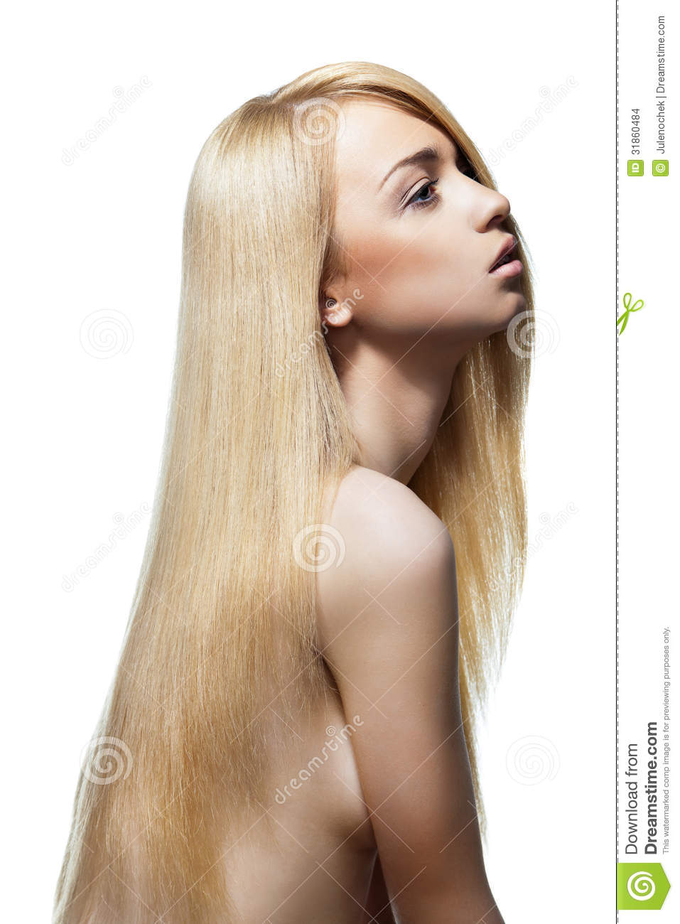 Woman With Straight Long Blond Hair Isolated Stock Photo Image Of