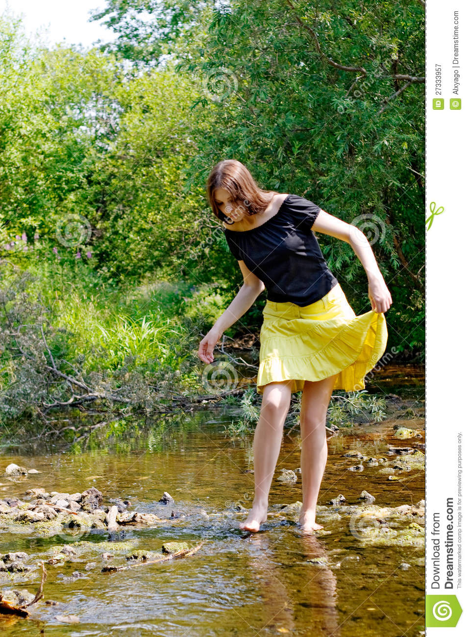 Woman and stream