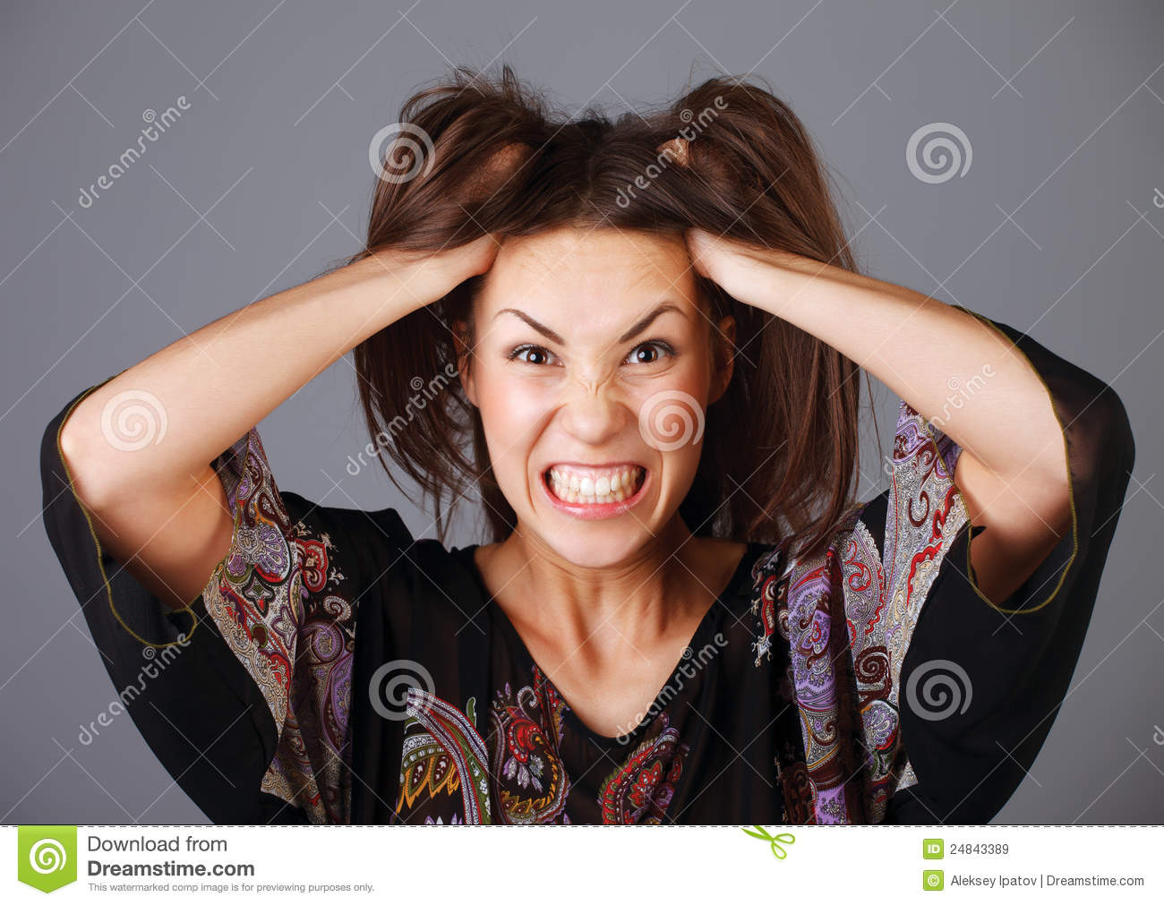 Woman stressed is going crazy