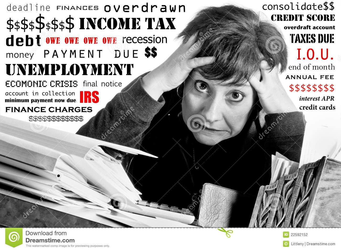 Woman stressed over finances stock photography image for Household bargaining and the design of couples income taxation