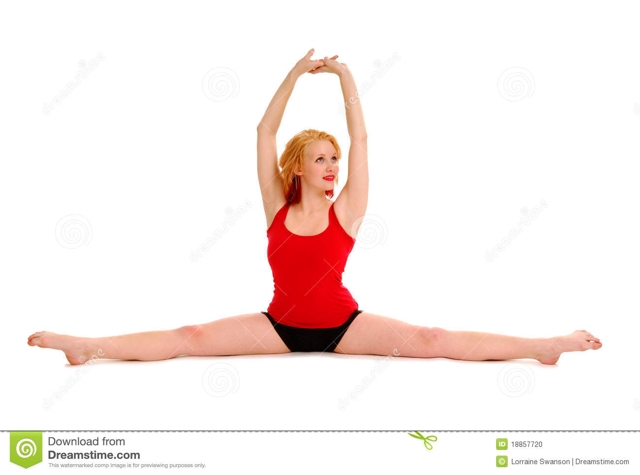Woman Stretching in Splits stock photo  Image of white - 18857720