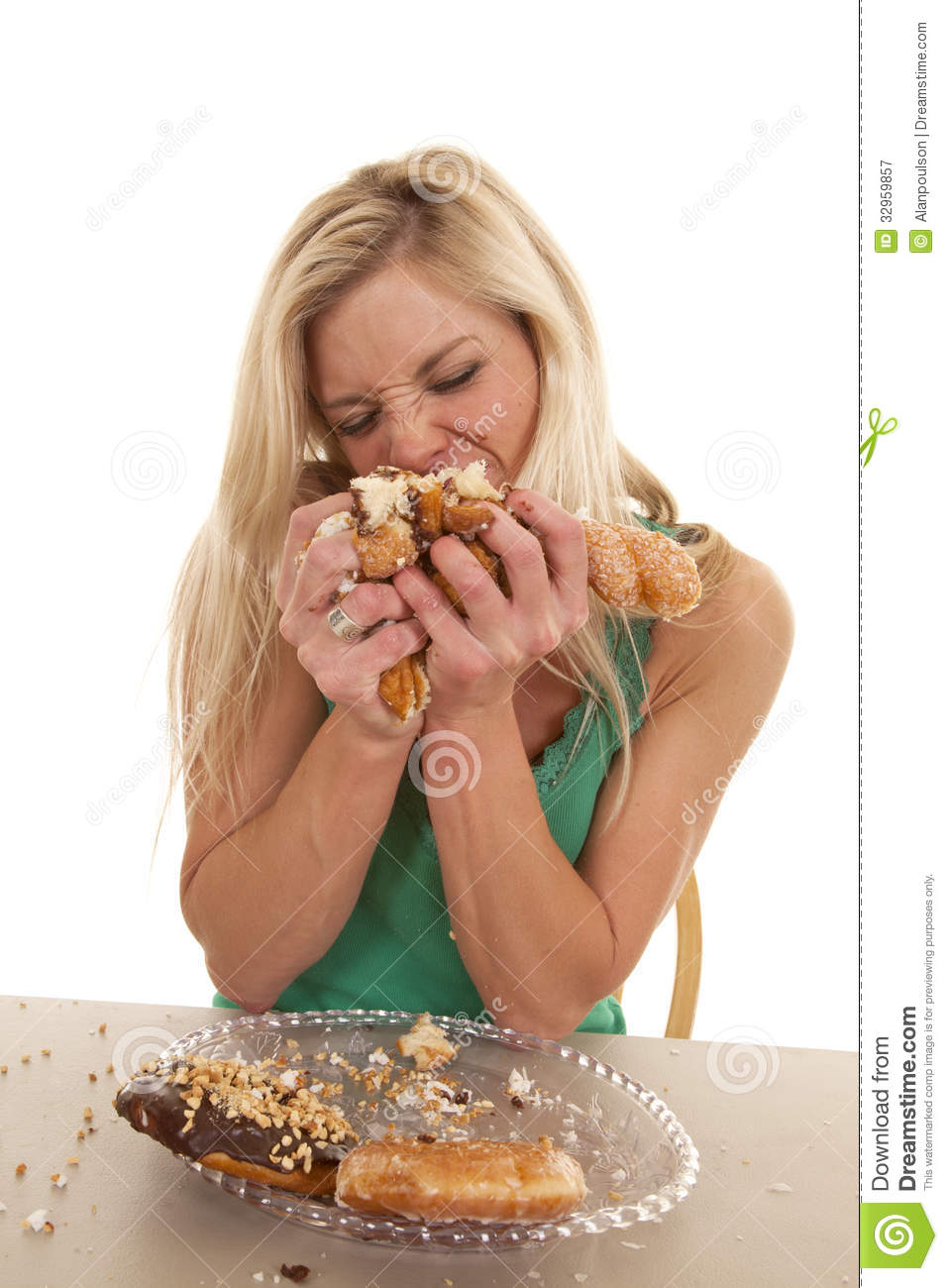 Woman Stuffing Doughnuts Onto Mouth Royalty Free Stock Photography ...