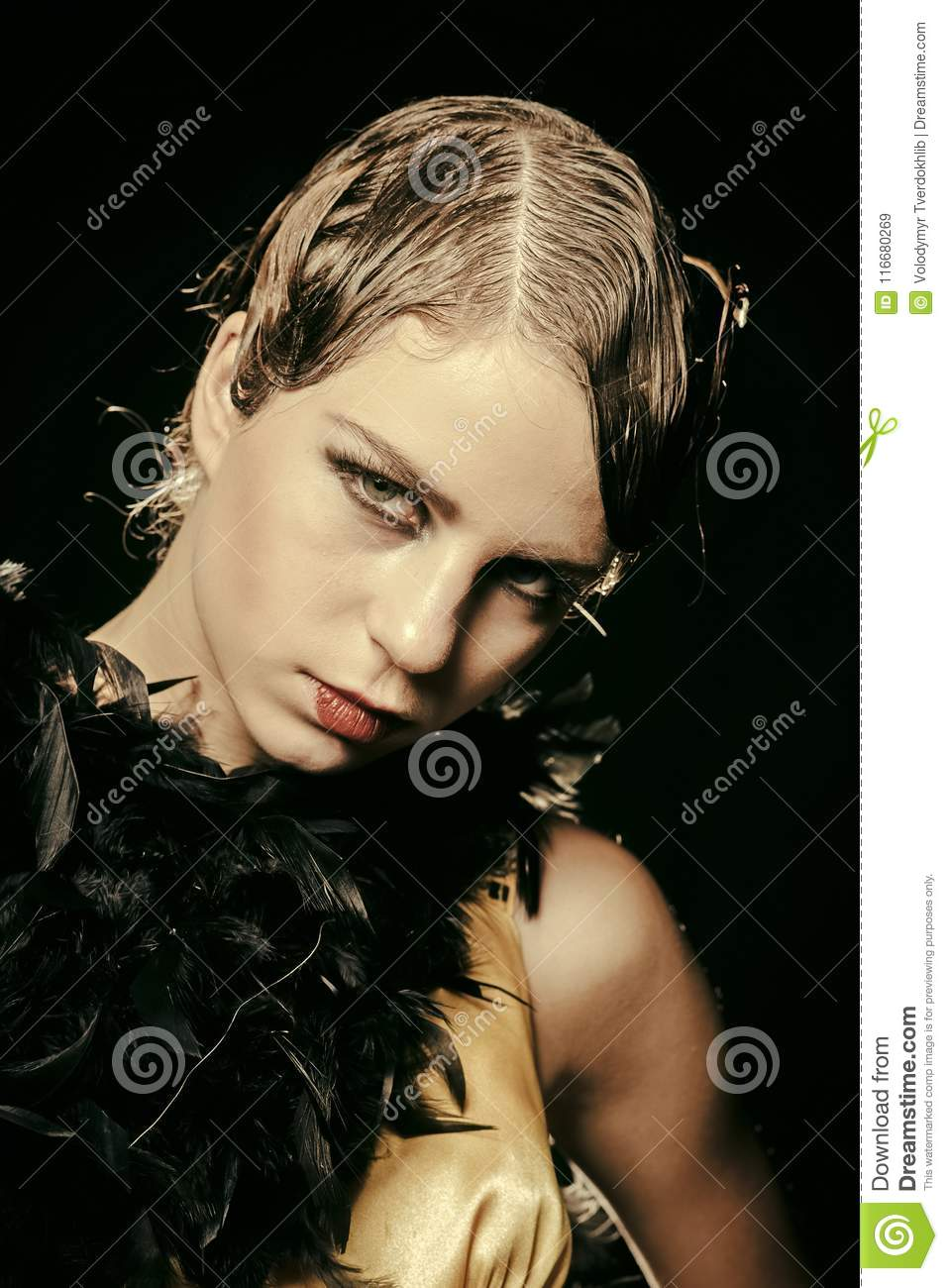 Woman With Stylish Retro Hair And Makeup Stock Image Image Of