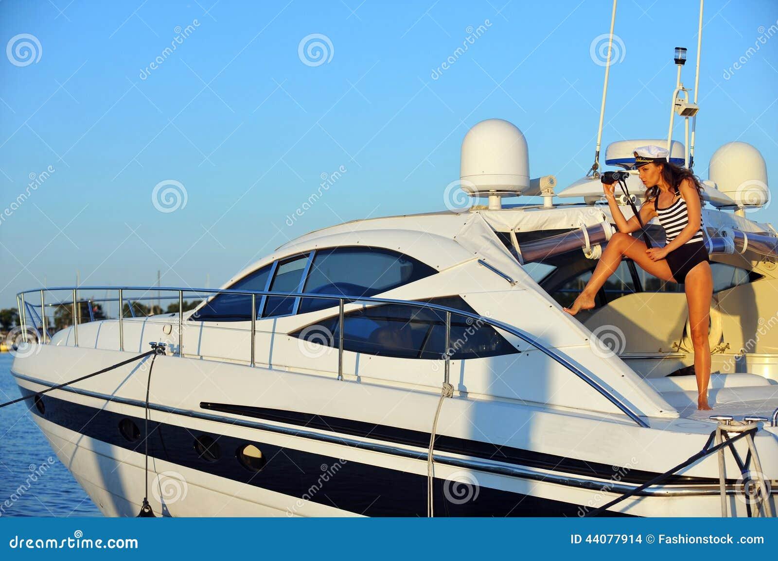 Brunette in a yacht - 2 8