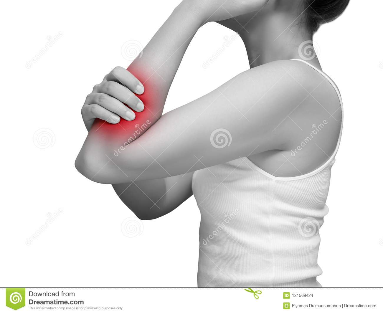 Woman Suffering From Arm Pain Painful In Arm Muscles Mono Tone