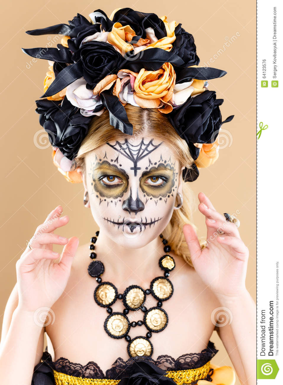 woman with sugar skull makeup stock photo image 64123576