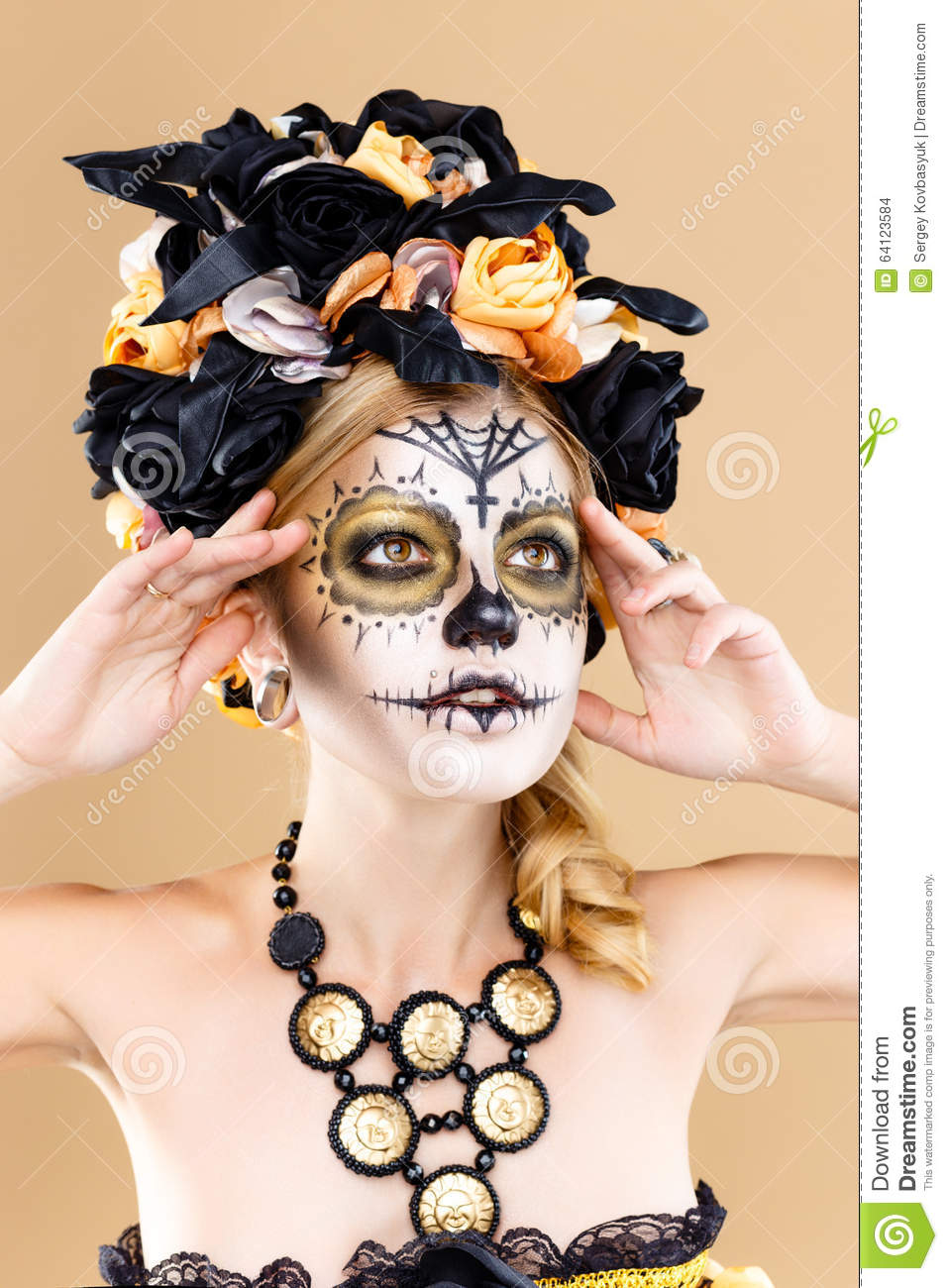attractive young woman with sugar skull makeup royalty free stock photo. Black Bedroom Furniture Sets. Home Design Ideas