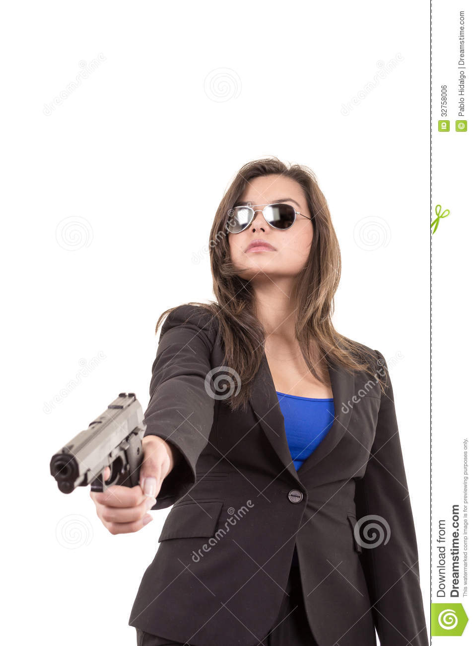 Woman In Suit And Sunglasses Holding A Gun Royalty Free ...
