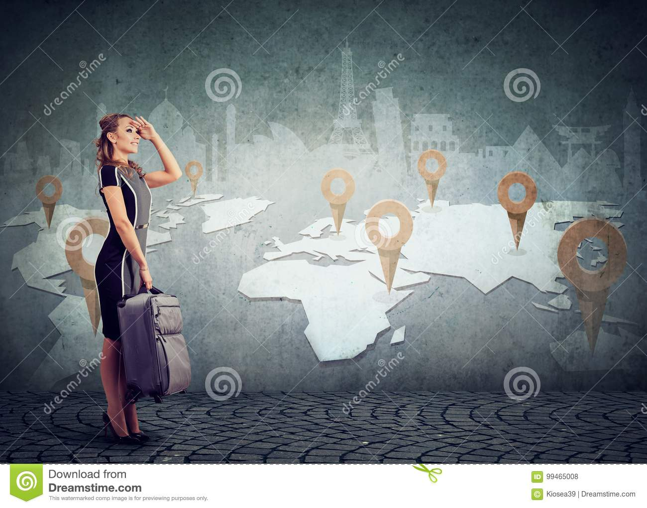 Woman with suitcase ready to explore the world on landmarks map background