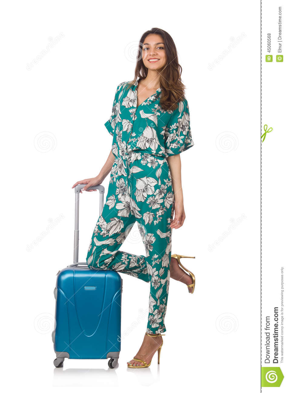 Woman with suitcase ready
