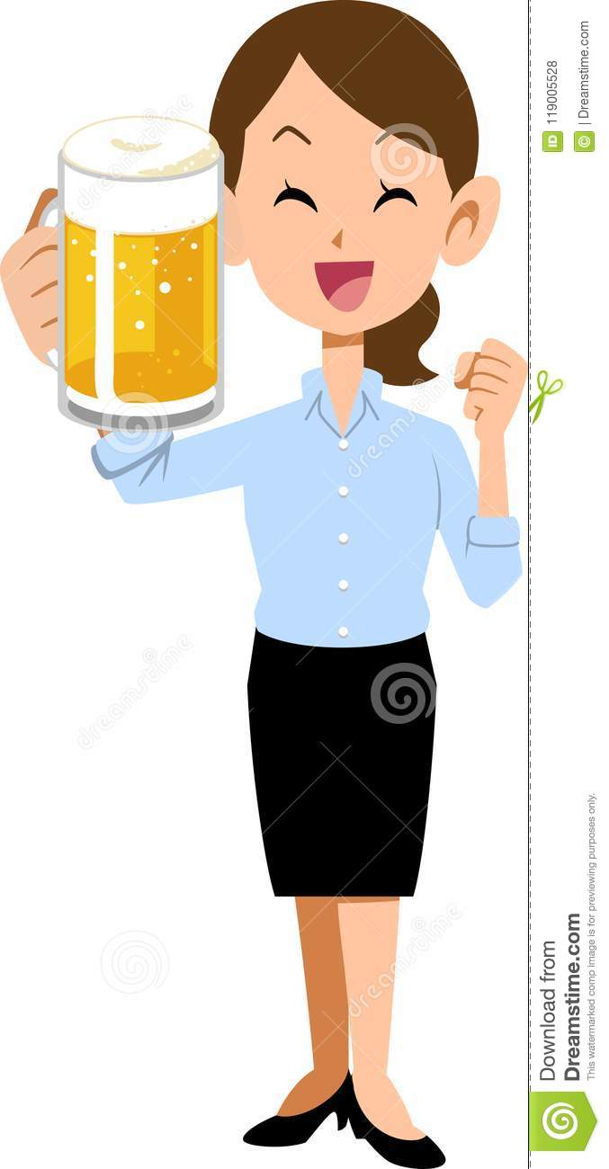 A woman in summer clothing toast with beer