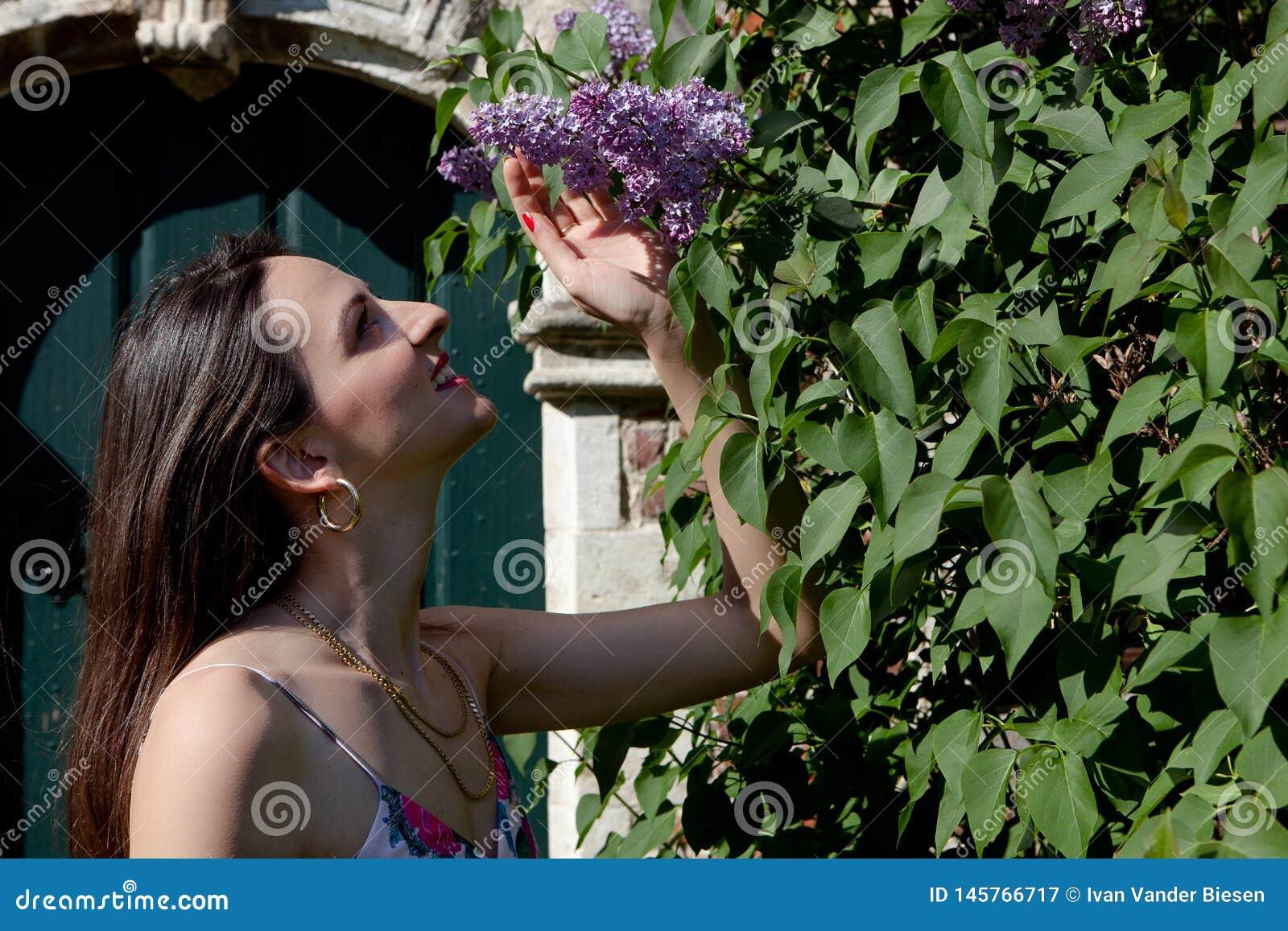 Woman sun lilac syringa wall door, Groot Begijnhof, Leuven, Belgium