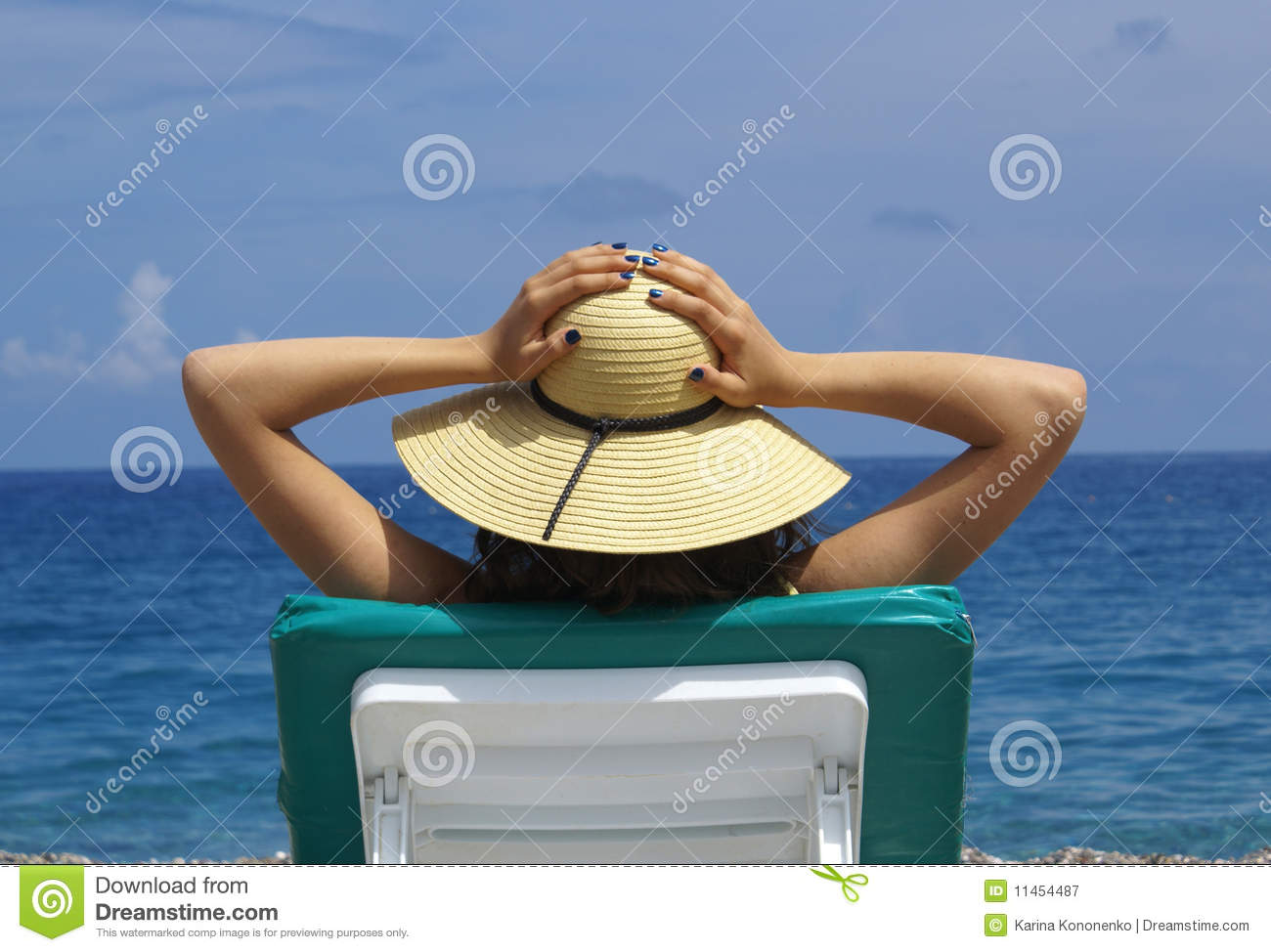 Download Woman Sunbathing In A Plastic Chair On A Beautiful Stock Image - Image of female, palm: 11454487