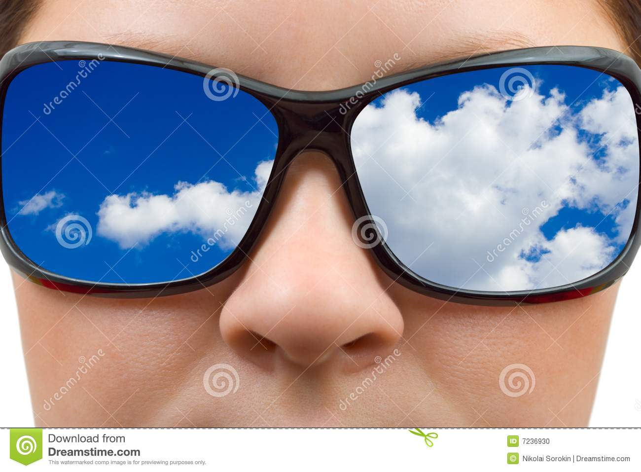 woman in sunglasses and sky reflection stock photo