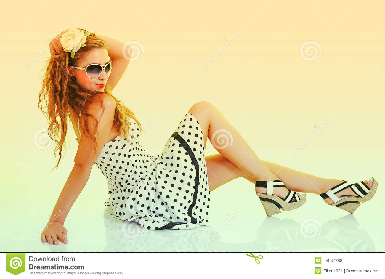 Woman In Sunglasses, Toned In Retro Pin Up Style Stock
