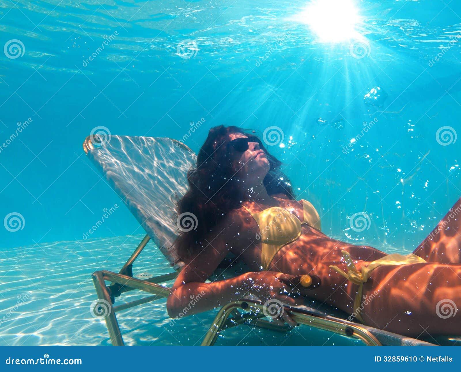 Woman Suntanning Underwater Stock Photo Image 32859610