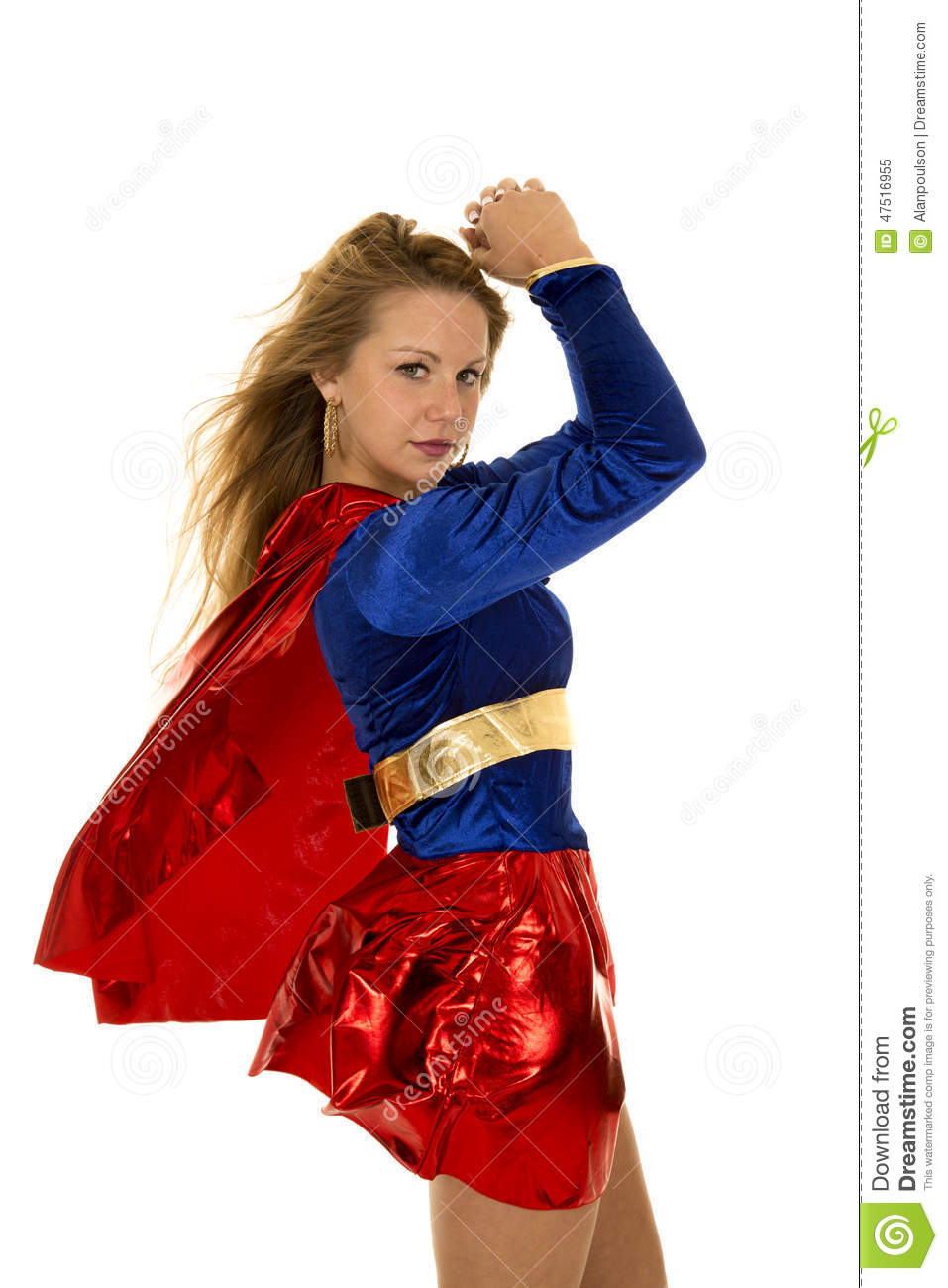 Woman super hero red cape blowing hands up