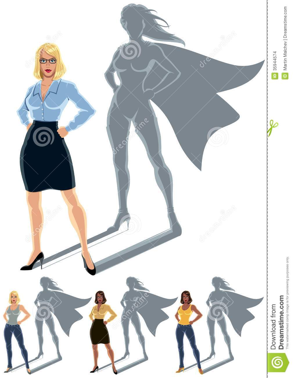 Conceptual illustration of ordinary woman with superheroine shadow ...