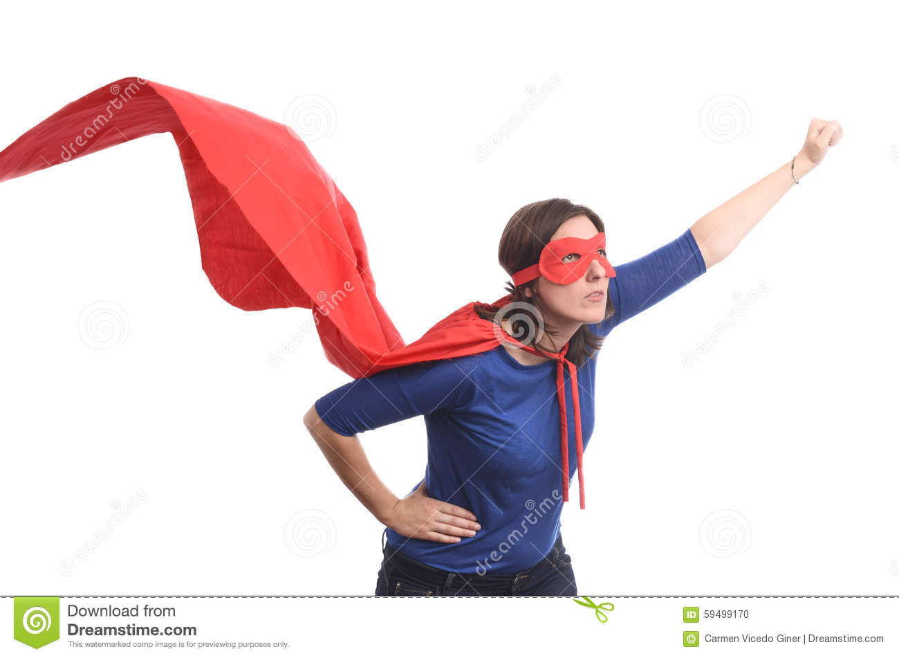 Woman Superhero With Red Cape, Isolated. Stock Photo - Image: 59499170