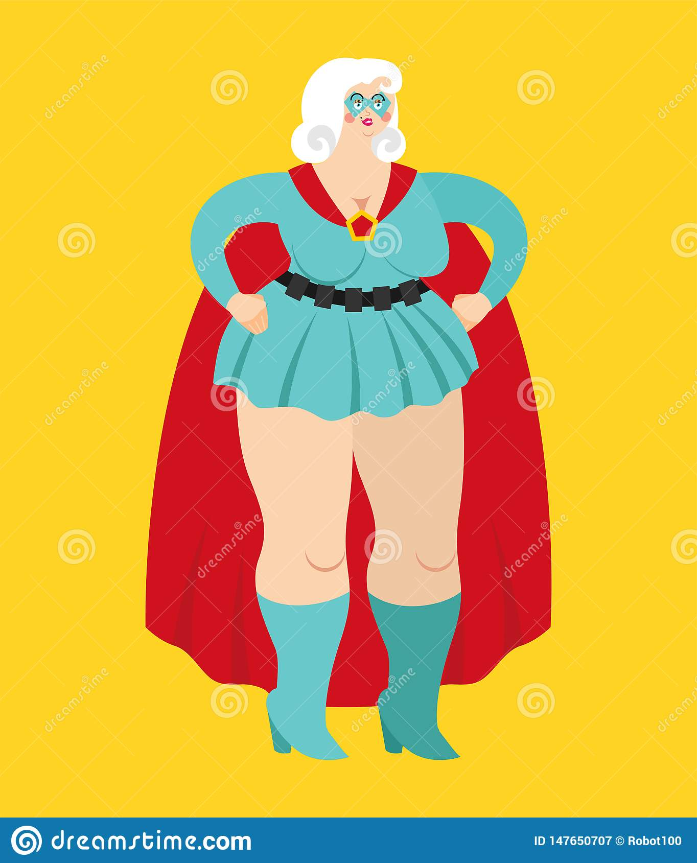 Woman superhero. Super girl in mask and raincoat. Strong lady