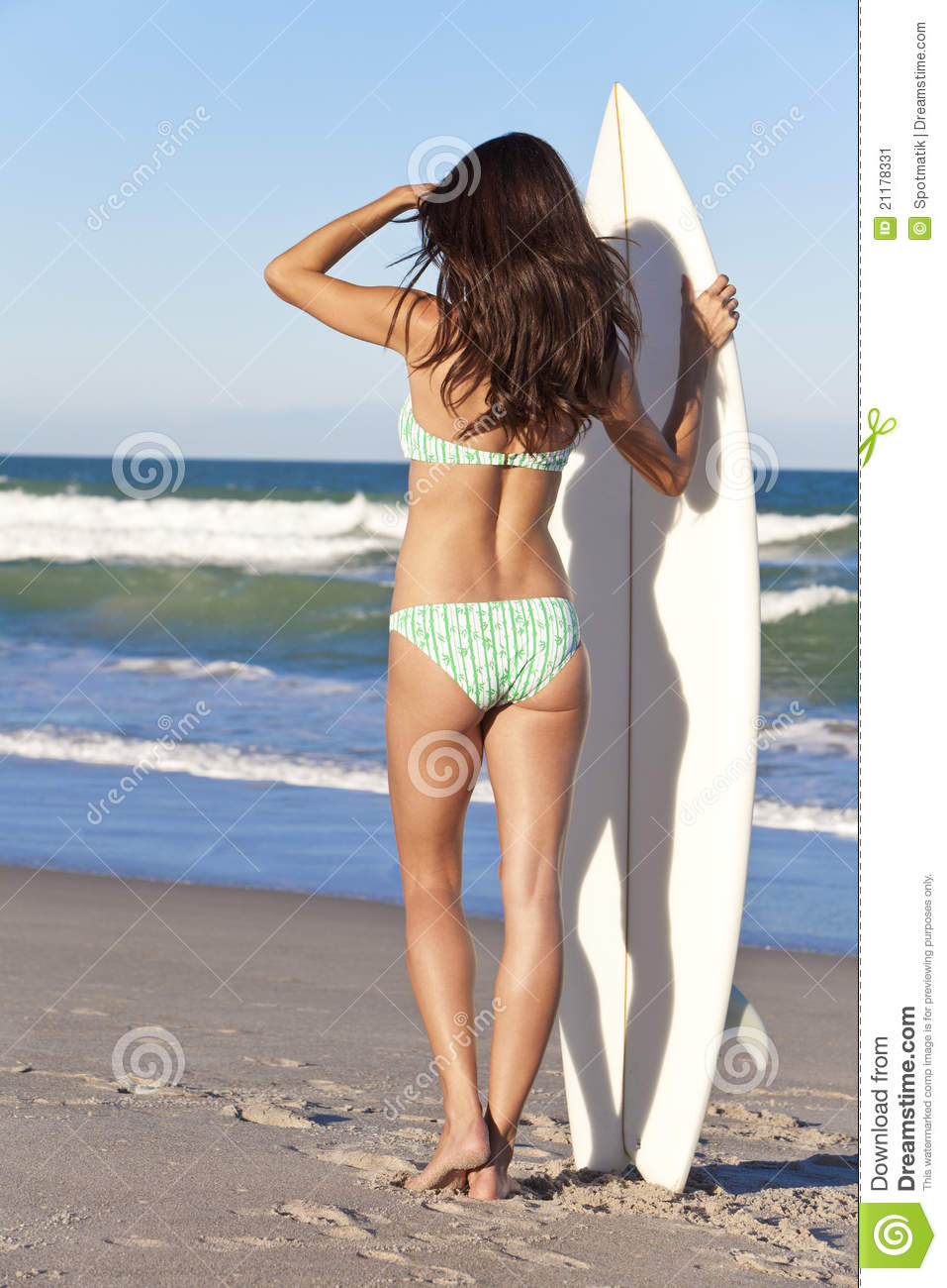 Woman Surfer In Bikini With Surfboard At Beach