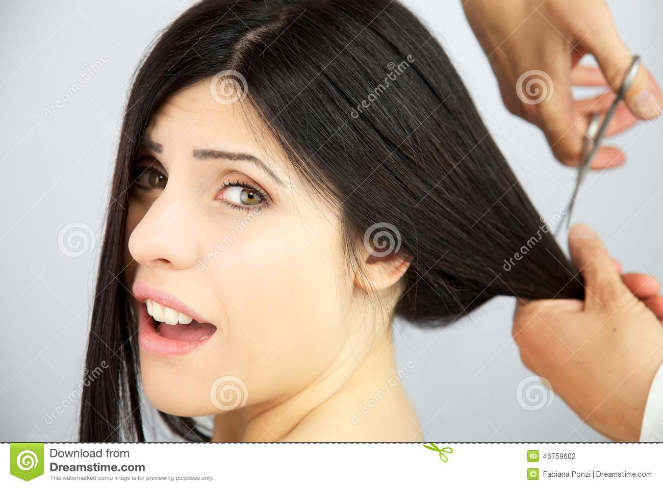 Woman Surprised About Getting Long Hair Cut Stock Photo Image Of Studio Short 46759602