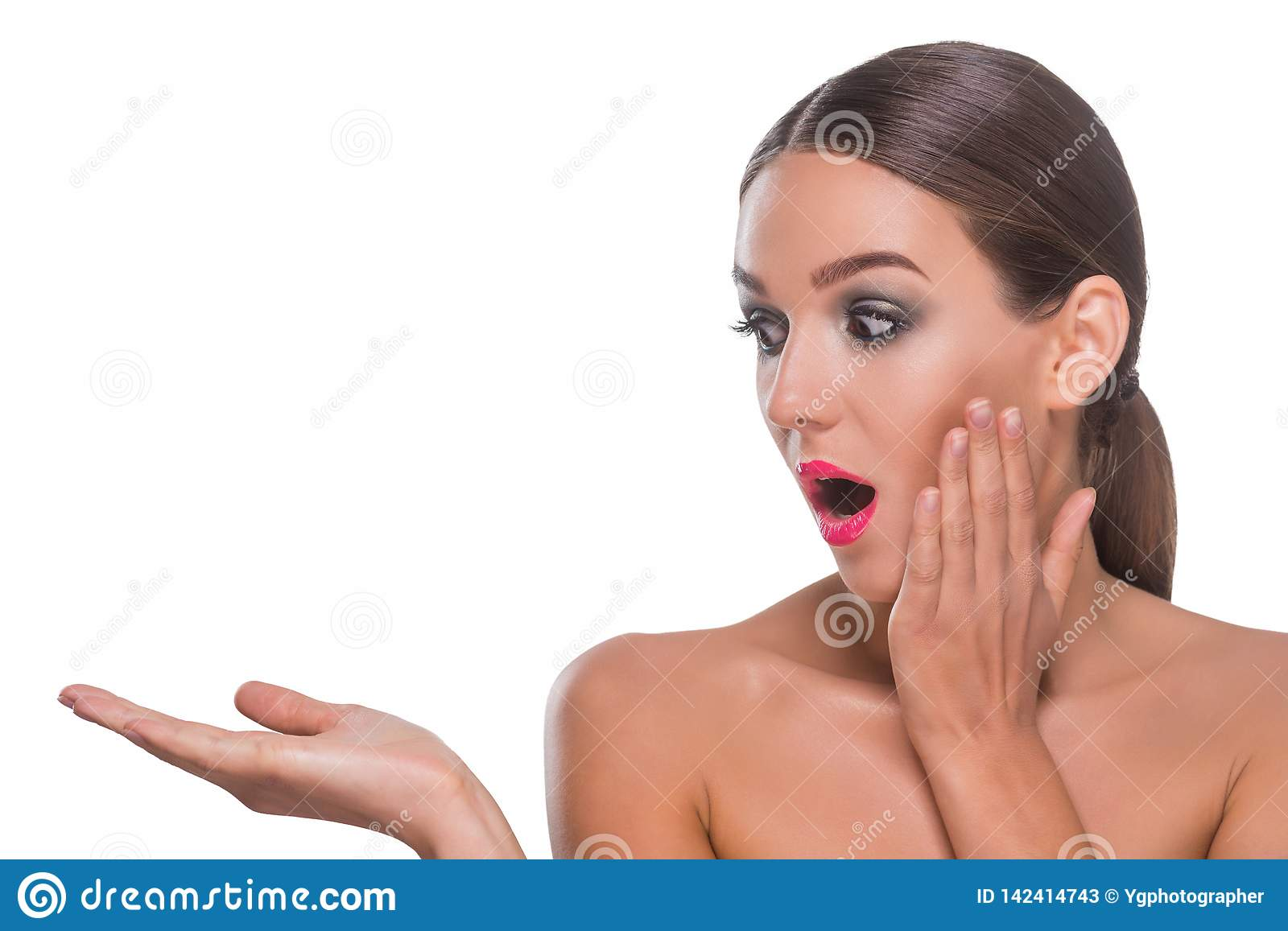 Woman surprised by something