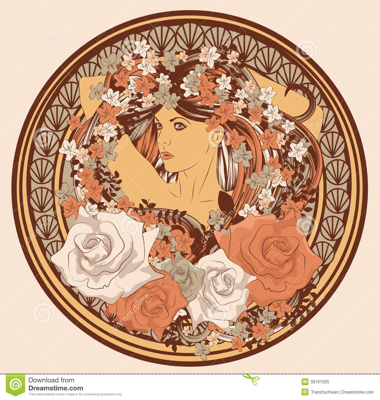 Art Nouveau styled woman in circle