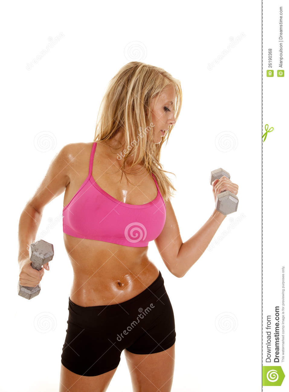 Coweta (OK) United States  city photos gallery : Woman Sweat Pink Weights On White Royalty Free Stock Photos Image