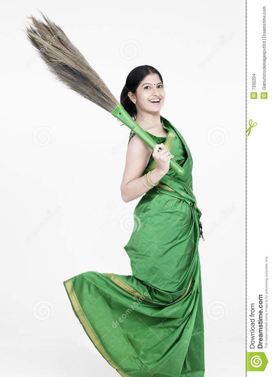 Woman With A Sweeping Broom Stock Images Image 7332204