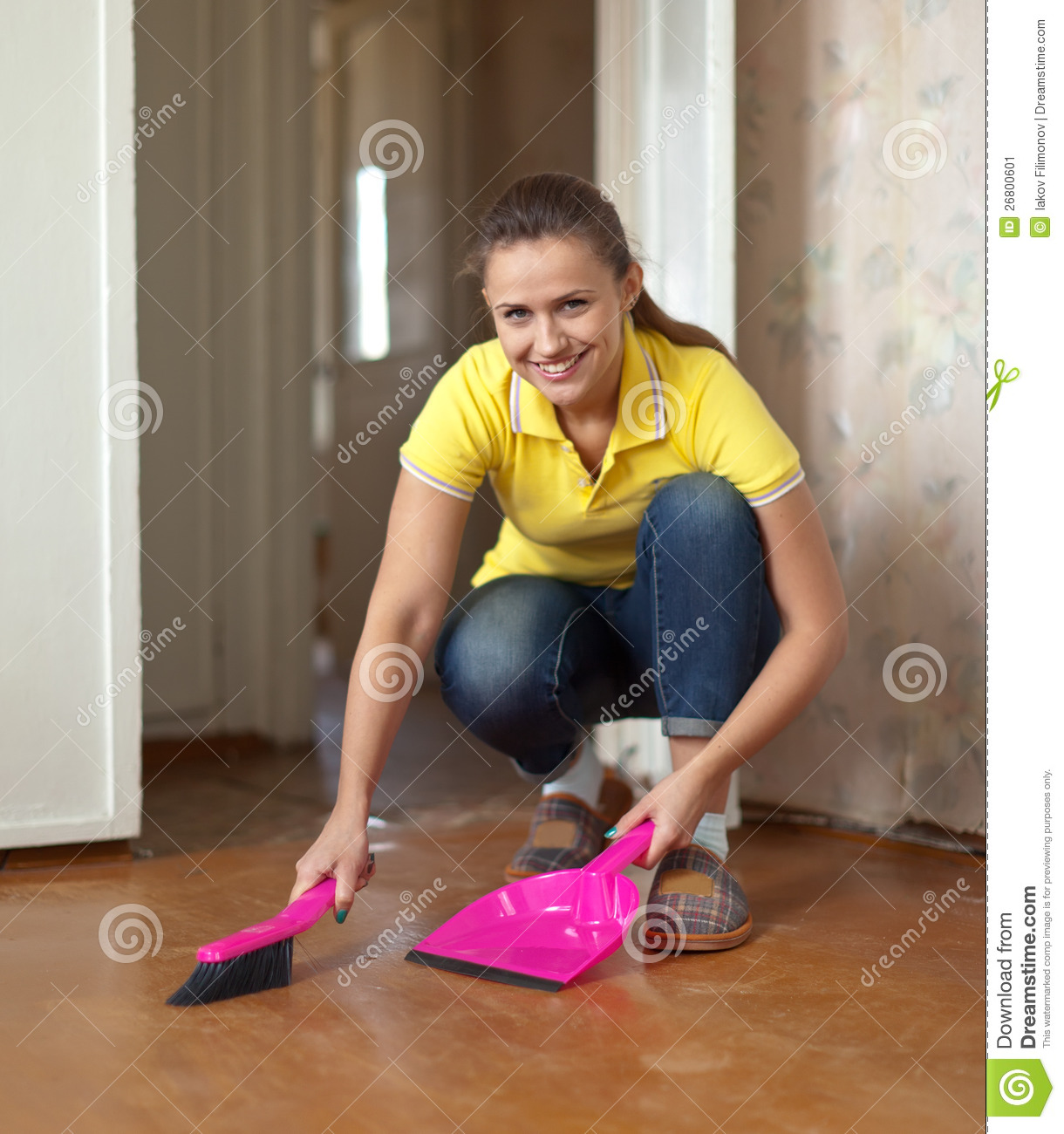 Woman sweeping the floor stock image image 26800601 for On the floor